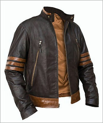 X-Men Wolverine Origins Bomber Style Brown Real Leather Jacket Size XS To 4XL • 63.79£