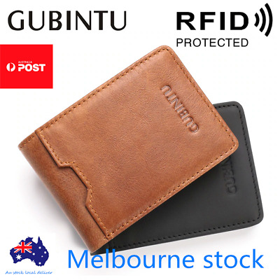 AU11.95 • Buy Bifold Credit Card Holder Genuine Leather Wallet Slim Mens RFID Blocking Purse