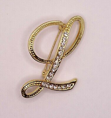 £4.30 • Buy Diamante Gold Initial Letter L Fashion Brooch Pin Brand New FREE P&P