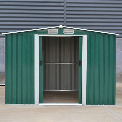 Large 8ft X 8ft Green Garden Shed Metal Galvanized Steel Bike Tool Storage House • 385.95£