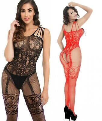 Sexy Body Stocking Bodysuit Tights Catsuit Lingerie Fishnet Camisole Size 6-18 • 6.99£