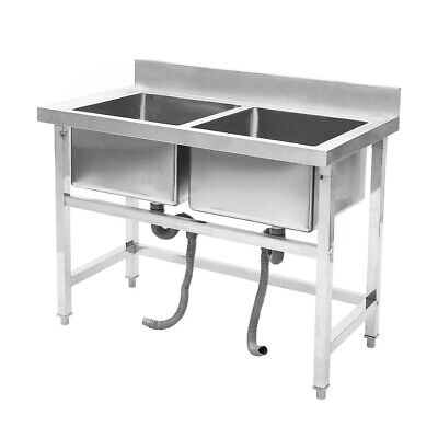 Stainless Steel Commercial Catering Deep Double Bowl Sink Drain Kitchen • 227.94£
