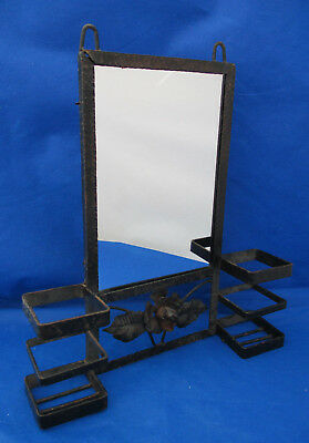 Wall Decor MIRROR Pillar Candle Vase Holders Black Metal Flower Rustic 14  • 18.88£