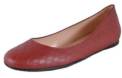 7e7978264 NEW Gucci Women's 368150 Red Leather GG Guccissima Ballet Flats Shoes •  287.10$