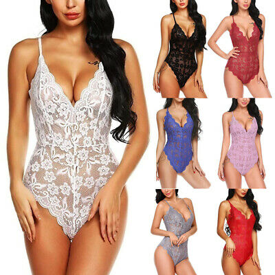 Women Sexy Full Lace Bodysuit Lingerie V Neck Stretch Leotard Night Jumpsuit Top • 5.19£