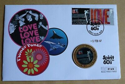 SPIRIT OF THE 60s 2007 MERCURY COVER + FIRST MAN ON THE MOON MEDAL • 17.95£