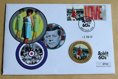 SPIRIT OF THE 60s 2007 MERCURY COVER + FOOTBALL ENGLAND WIN WORLD CUP 1966 MEDAL • 9.95£