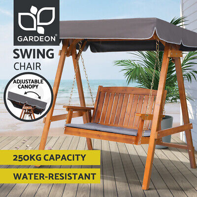 AU350.96 • Buy Gardeon Outdoor Swing Chair Wooden Garden Bench Hammock Canopy Outdoor Furniture
