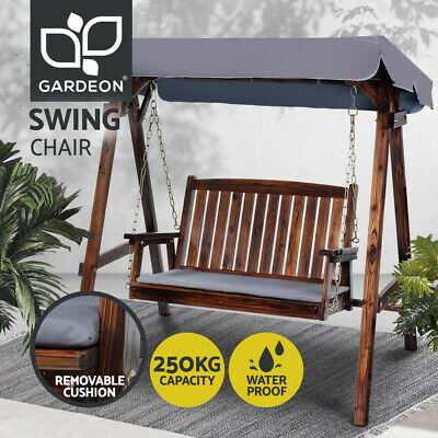AU350.96 • Buy Gardeon Outdoor Furniture Swing Chair Wooden Garden Bench Hammock Canopy