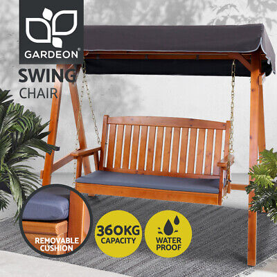 AU449 • Buy Gardeon Outdoor Furniture Wooden Swing Chair Garden Bench Canopy 3 Seater Lounge