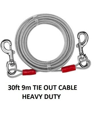 30ft 9m TIE OUT CABLE METAL WIRE FOR SPIRAL STAKE PET DOG LEAD GARDEN PICNIC  • 9.95£