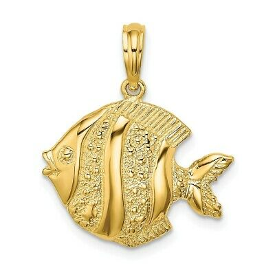 14K Yellow Gold Polished And Engraved Fish Charm Pendant • 160.97$