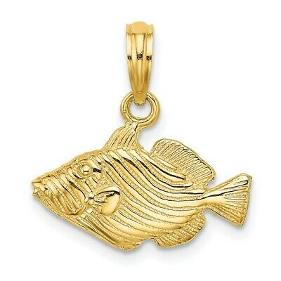 14K Yellow Gold 2-D & Engraved Striped Fish Charm Pendant • 122.97$