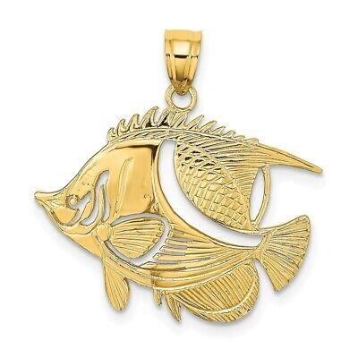 14K Yellow Gold FISH Charm Pendant • 141.97$