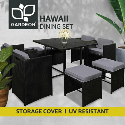 AU679.95 • Buy Gardeon Outdoor Dining Set Patio Furniture Wicker Chairs And Table Garden 9PCS