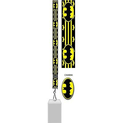 $11.98 • Buy Batman Lanyard With Badge And Rubber Charm Black