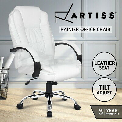 AU146.95 • Buy Artiss Office Chair Computer Chairs Executive Premium Padded PU Leather White