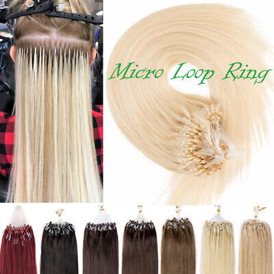 £33.21 • Buy 8A Thick 100% Remy Human Hair Extensions Micro Loop Ring Beads/Stick I Tip White