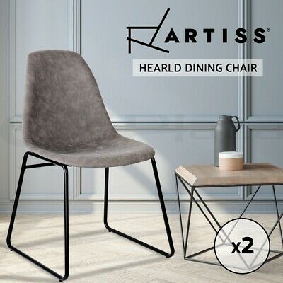 AU128.90 • Buy Artiss 2x Dining Chairs Retro Replica Chair DSW Leather Vintage Grey