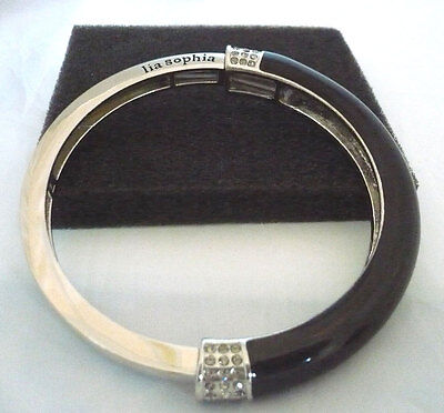 $ CDN16.99 • Buy  Lia Sophia Black Enamel & Silver Bangle Bracelet With Rhinestone Accents
