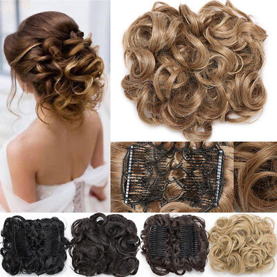 £11.20 • Buy UK LARGE THICK Curly Scrunchie Messy Bun Updo Clip In Lady Hair Piece Extensions