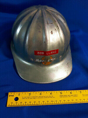 Superlite Fibre Metal Aluminum Hard Hat Construction Helmet Advertising VTG  • 48.75$