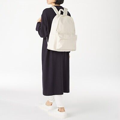 $63.95 • Buy MUJI 100% UNBLEACHED ORGANIC COTTON WATER RESISTANT BACKPACK White Japan Bag New