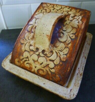 £37.99 • Buy Vintage Large Quantock Pottery Stoneware Floral Design Cheese Dish