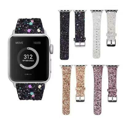 $ CDN13.67 • Buy For Apple Watch Series 4 3 2 1 Leather Glitter Replacement Wrist Watch Band