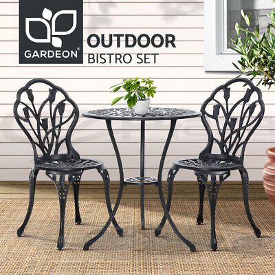 AU206.96 • Buy Gardeon 3 Piece Outdoor Setting Chairs Table Bistro Set Cast Aluminum Patio