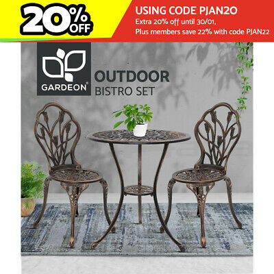 AU206.96 • Buy Gardeon 3 Piece Outdoor Setting Chairs Table Bistro Set Patio Cast Aluminum