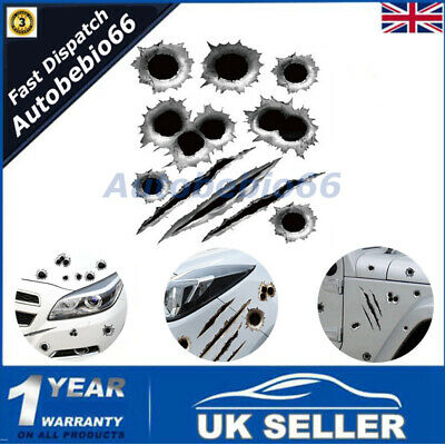 21*30cm 3D Simulated Bullet Hole Waterproof Motorcycle Car Sticker Decal Scratch • 2.93£