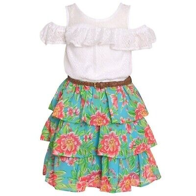 $8.99 • Buy Real Love Little Girls White Cold-Shoulder Floral Tiered Belted Dress 4-6X