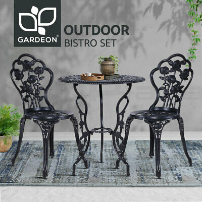 AU199.90 • Buy Gardeon 3 Piece Outdoor Setting Chairs Table Bistro Set Cast Aluminum Patio Rose