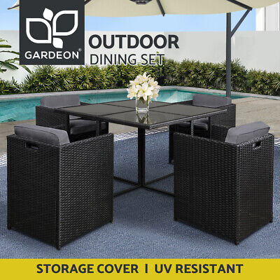 AU399 • Buy Gardeon Outdoor Dining Table And Chairs Setting Patio Furniture Wicker Garden