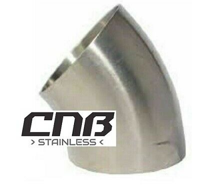 45 Degree 3A Short Elbow Stainless Steel Dull Polish Pipe Mandrel Bend Exhaust • 11.70£