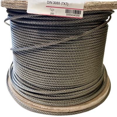 Wire Rope A4 Marine Grade Stainless Steel Cable 7x7 2mm-6mm DIN 3055 • 0.99£