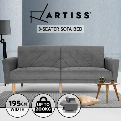 AU369.95 • Buy Artiss Sofa Bed Lounge 3 Seater Futon Couch Beds Grey Fabric 193cm Furniture