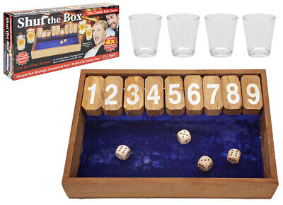 £8.45 • Buy Wooden Vintage Shut The Box Pub Drinking Game With Shot Glasses Traditional