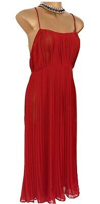 BNWT Topshop Red Pleat Sheer Cami Strappy Size 10 Dress Festival Party Beach • 17.50£