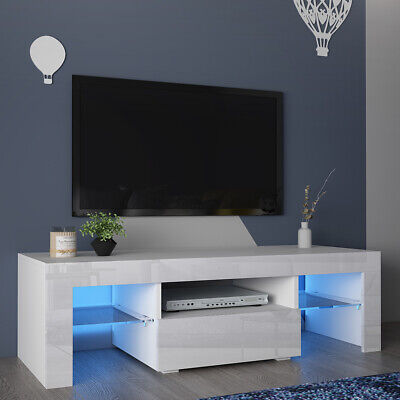 110cm White TV Cabinet Stand High Gloss 1 Drawer Glass 2 Shelve Storage LED Unit • 78.90£