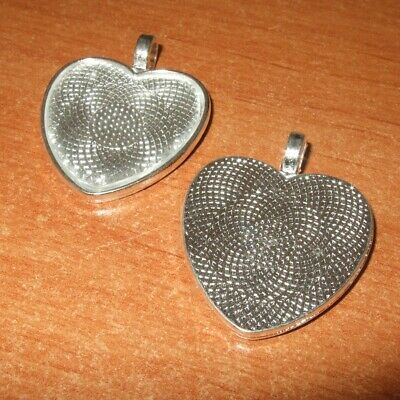 NEW HEART ANTIQUE SILVER  CAMEO CABOCHON PENDANT SETTING TRAY 25mm X 25mm C38 • 3.49£