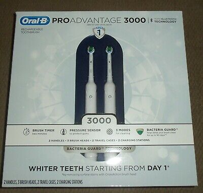 AU138.90 • Buy 2 New Oral B Pro Advantage 3000 Electric Toothbrush W/ Blue Tooth Technology