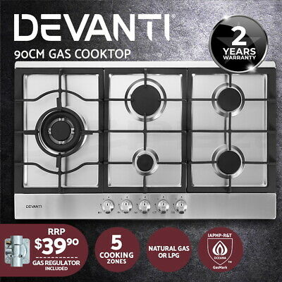 AU269.90 • Buy Devanti Gas Cooktop 90cm Kitchen Stove Cooker 5 Burner Stainless Steel NG/LPG