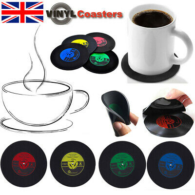UK Vinyl CD Records Coasters Coffee Cup Place Mats Non-Slip Music Gift Retro Pad • 10.99£