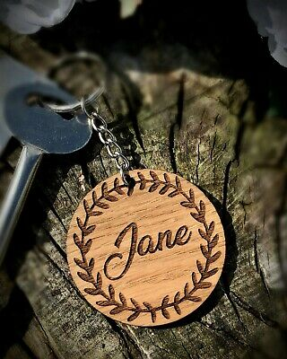 Personalised Wooden Oak Keyring Rustic Style Birthday Gift  • 2.99£
