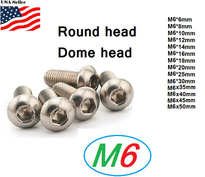 $8 • Buy M6x1.0  Metric 6mm Up To 50mm Stainless Steel Button Hex Bolt Dome  Allen Screw