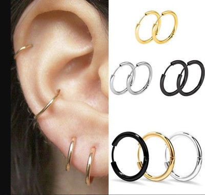 3Pairs/set 925 Silver Hinged Small Hoop Circle Ring Earrings Women/Men • 0.99£