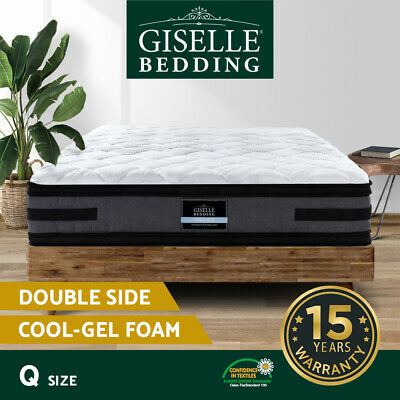 AU319 • Buy Giselle 36CM QUEEN Mattress Bed 7 Zone Euro Top Pocket Spring Medium Firm Foam