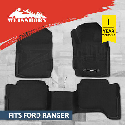 AU98.95 • Buy Weisshorn Ford Ranger Car Floor Mats PX PX2 PX3 Dual Cab 2011-2019 3D Rubber